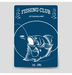Fishing club brochure flyer template vector