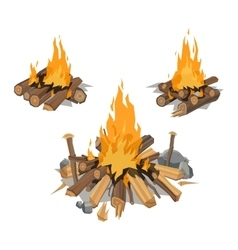 Bonfires isolated vector