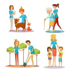 Volunteer People Help Flat Cartoon Collection vector image