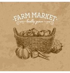 Hand drawn farm market vector