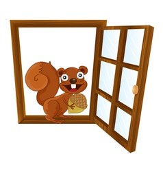a window and squirrel vector image