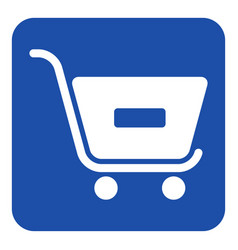 Blue white sign - shopping cart minus remove vector