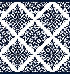 Damask seamless pattern with blue floral ornament vector