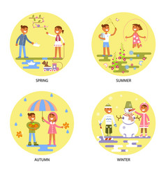 four seasons set with babies vector image