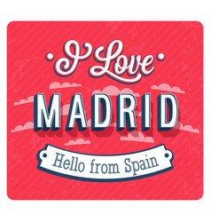 Vintage greeting card from madrid vector