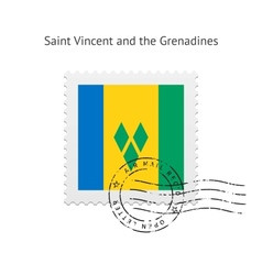Saint vincent and the grenadines flag postage vector