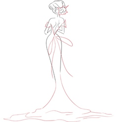 Bride in dress with long train vector