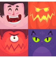Happy halloween set of halloween characters vector