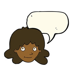 Cartoon happy female face with speech bubble vector