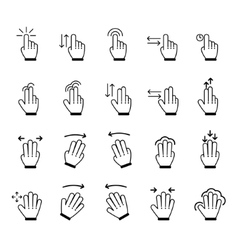 Hand gestures icon set vector