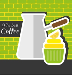Silver metal jar of coffee with a green cake vector