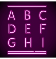 Realistic Neon Alphabet A-I vector image