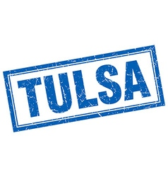 Tulsa blue square grunge stamp on white vector