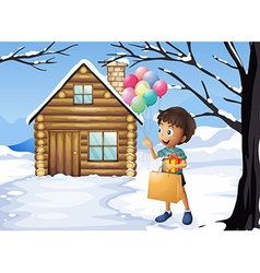 A boy holding a bag and balloons vector image vector image