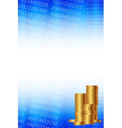 background with statistical data and gold coins vector image vector image