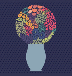 bouquet with cheerful stylized flowers vector image vector image