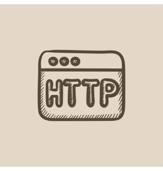 Browser window with http text sketch icon vector image vector image