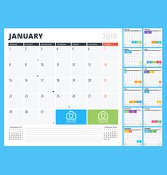 calendar planner for 2018 year print design vector image vector image