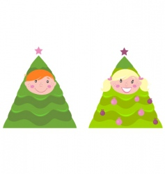 Christmas kid tree costumes vector image