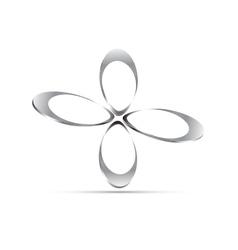 Chrome floral icon vector
