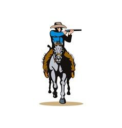 Cowboy horseback with rifle vector