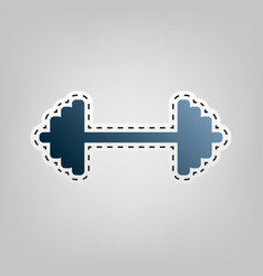 Dumbbell weights sign blue icon with vector