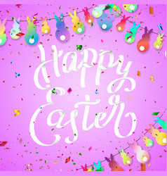 easter greeting card with hanging rabbit colorful vector image vector image