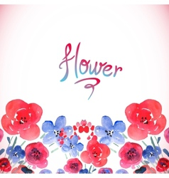 Floral background with pink and blue flowers vector image