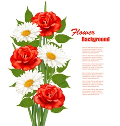 Flower background with white daisy and red roses vector