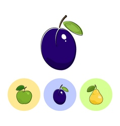 Fruit icons plum apple pear vector