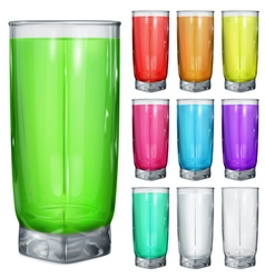 Glasses with multicolored drinks vector