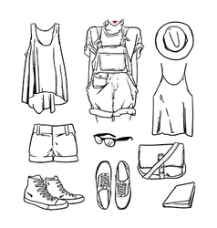Hand drawn girl clothing and accessories outline vector