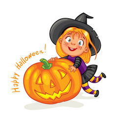 Happy halloween funny little children vector