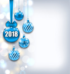 happy new year 2018 with blue glass balls glitter vector image