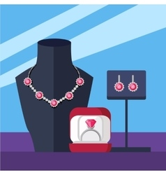 Jewelry set necklace ring and earrings isolated vector
