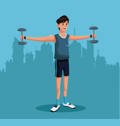 Man sports barbell training urban background vector