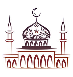 Ornate colorful mosque vector