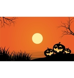 Pumpkins and fullmoon halloween orange backgrounds vector