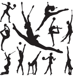 Rhythmic gymnastics with ball and cones vector