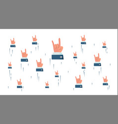 Rock n roll hand sign flying businessman vector