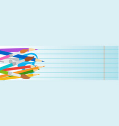 School supplies on edge of horizontal banner with vector