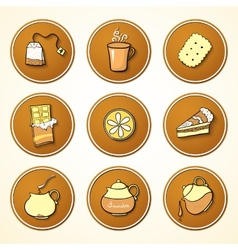 Set tea and sweets round icons vector
