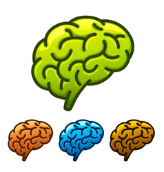 silhouette of the brain green vector image