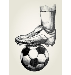 Soccer player foot on soccer ball vector
