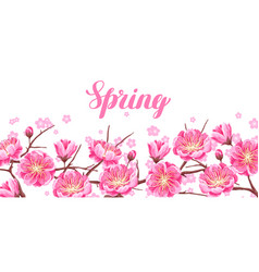 Spring banner with sakura or cherry blossom vector