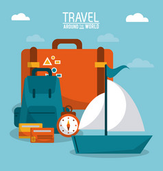 Travel around the world ship boat luggage credit vector