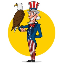 Uncle Sam and eagle vector image vector image