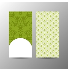Vertical green floral banner template vector image vector image