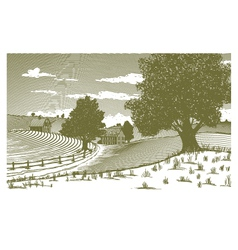 Woodcut Rural Scene vector image