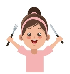 Happy little girl holding fork and knife icon vector